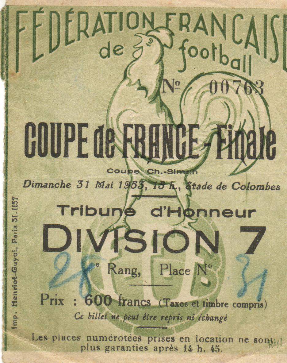 Billet de 1953 , finale LOSC - NANCY